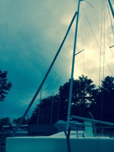 Sailboat Canvas - Jib Cover on a Melges 24. This cover can be removed easily and doesn't weigh the jib down.